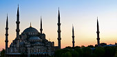 Sultan Ahmed Mosque known as the Blue Mosque at dusk, in Istanbul. Turkey