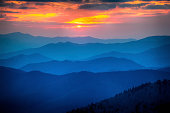 Foggy sunset in the Great Smoky Mountains National Park in Tennessee, USA.