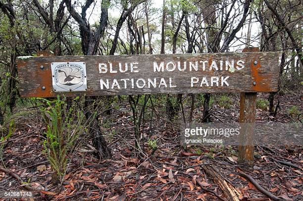 Blue mountains National Park sign, NSW, Australia