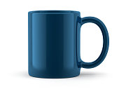 Blue Mug Isolated on White Background