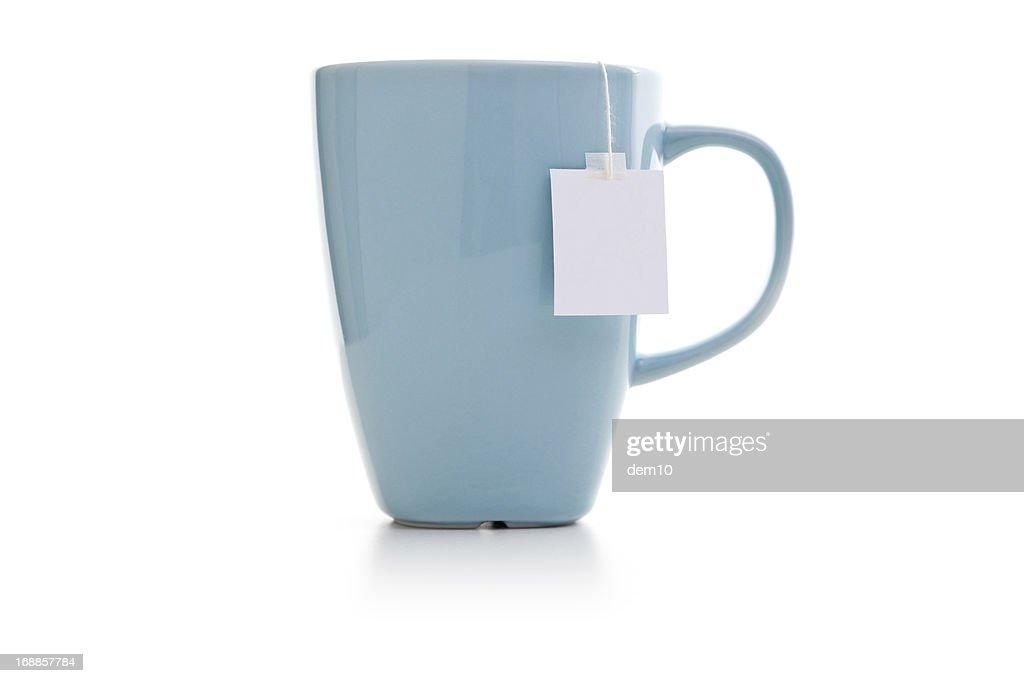 Blue mug with tea bag
