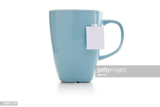 Blue mug with tea bag