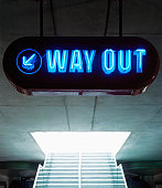 Blue neon exit sign