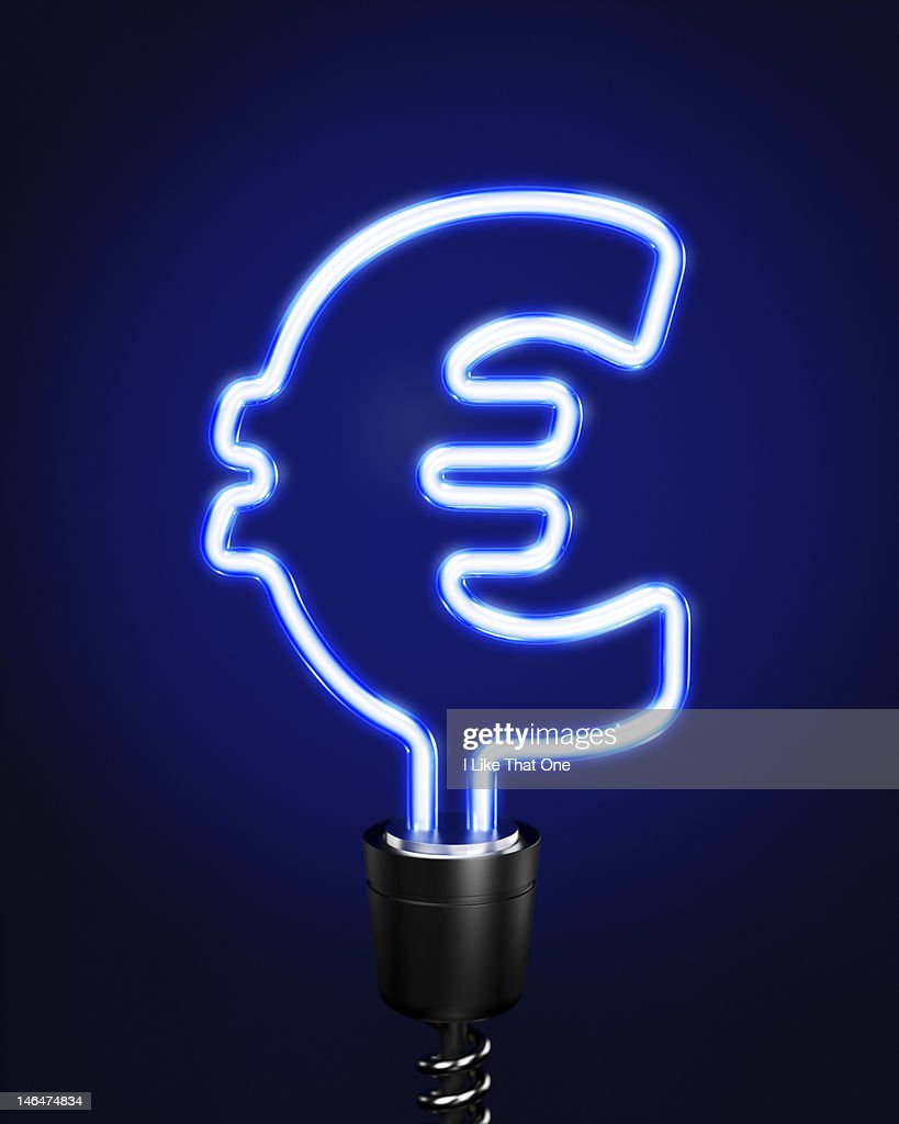 blue neon tube lightbulb forming euro symbol stock photo getty images. Black Bedroom Furniture Sets. Home Design Ideas