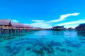 Blue ocean and Water Villa in Sipadan