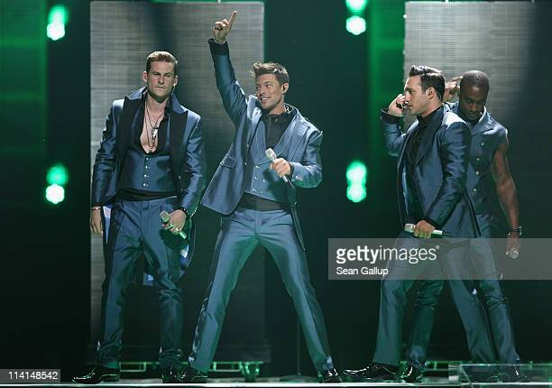 Blue of the United Kingdom perform during the dress rehearsal ahead of the finals of the 2011 Eurovision Song Contest on May 13 2011 in Duesseldorf...