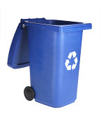 Small recycle bin on white background