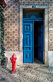 Blue painted front door and tiled building exterior with fire hydrant, Lisbon, Campo de Ourique