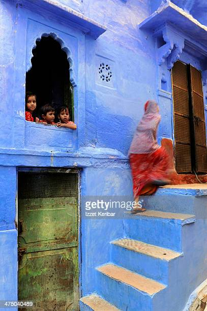 Blue painted houses and street scenes in Jodhpur