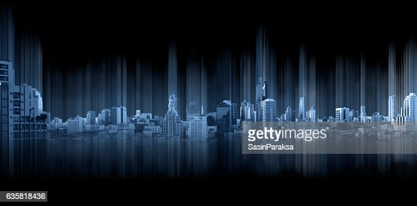 Blue panoramic city with motion graphic, technology city connection : Stock Photo