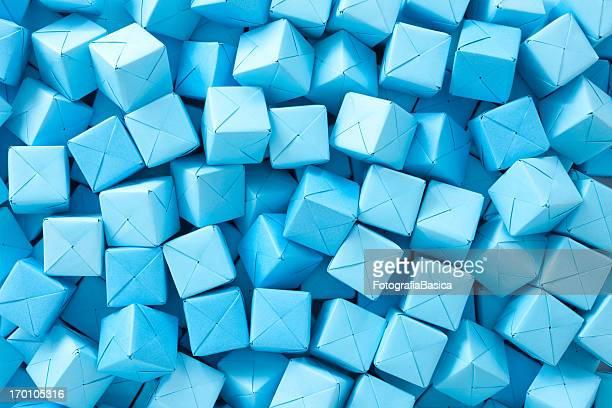Blue paper cubes