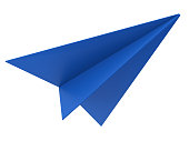 3d rendering blue paper plane isolated on white