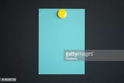 Blue paper sheet with magnet : Foto de stock