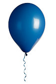 blue party balloon isolated on white