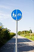 Blue pedestrian information sign
