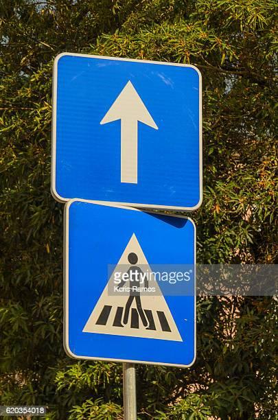 Blue pedestrian signaling board