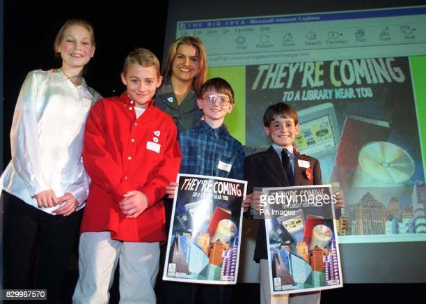 Blue Peter presenter Katy Hill with the winners of The Big Idea competition Charlotte Bingham from Thames Ditton Surrey Richard Cork from Guildford...