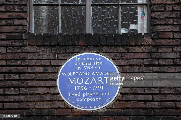 A blue plaque indicates a house where Wolfgang Amadeus Mozart used to live in the Soho area of the City of Westminster on March 7 2011 in London...