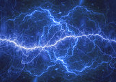 Blue plasma lightning storm, electrical abstract background