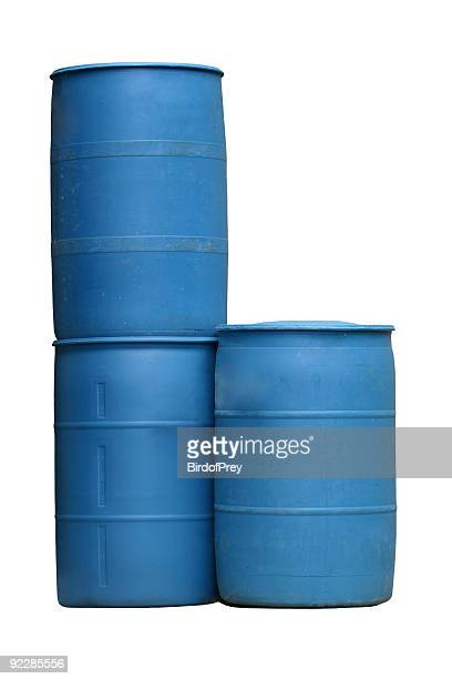 Blue Plastic Barrels Isolated