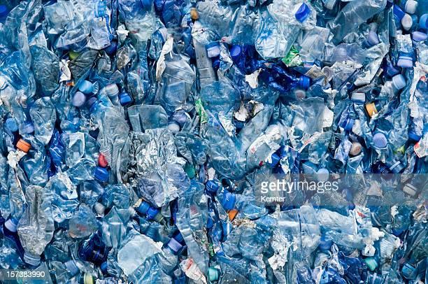 Plástico azul lixo
