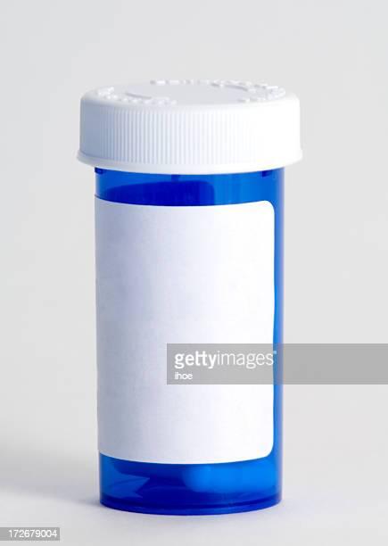 Blue plastic medicine container