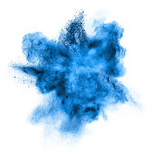 blue powder explosion isolated on white background