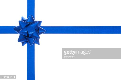 Blue present bow and ribbon, isolated on white