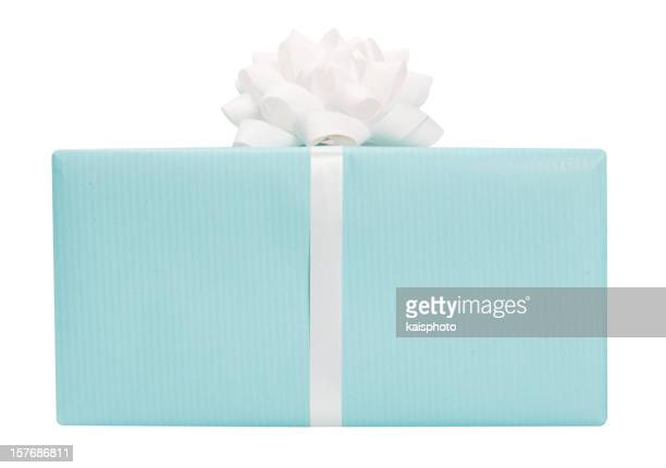 Blue present with a bow