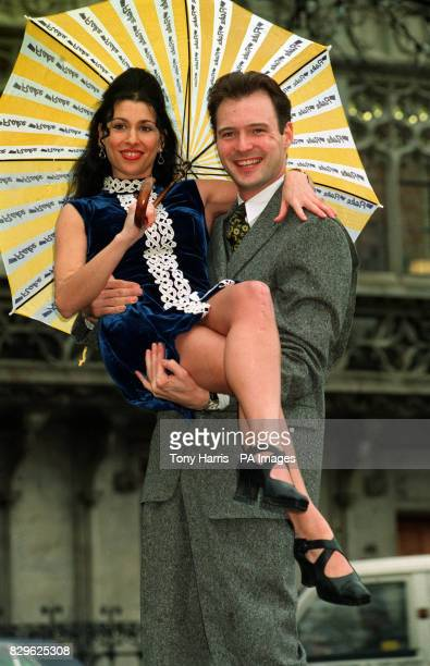 Blue Presenter John Leslie with dance teacher Kathryn Dixon from Huyton Liverpool who was named Cadbury's Flake woman of 1994