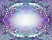 central light burst surrounded by symmetrical oval sparkling white border with pink purple edging