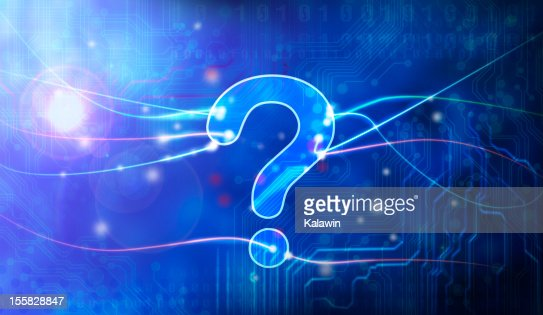 Blue question mark in data stream : Stock Photo