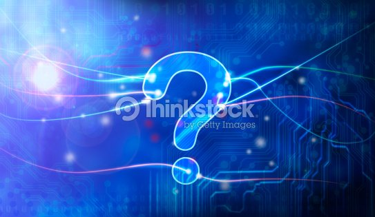 Blue question mark in data stream : Stock Photo