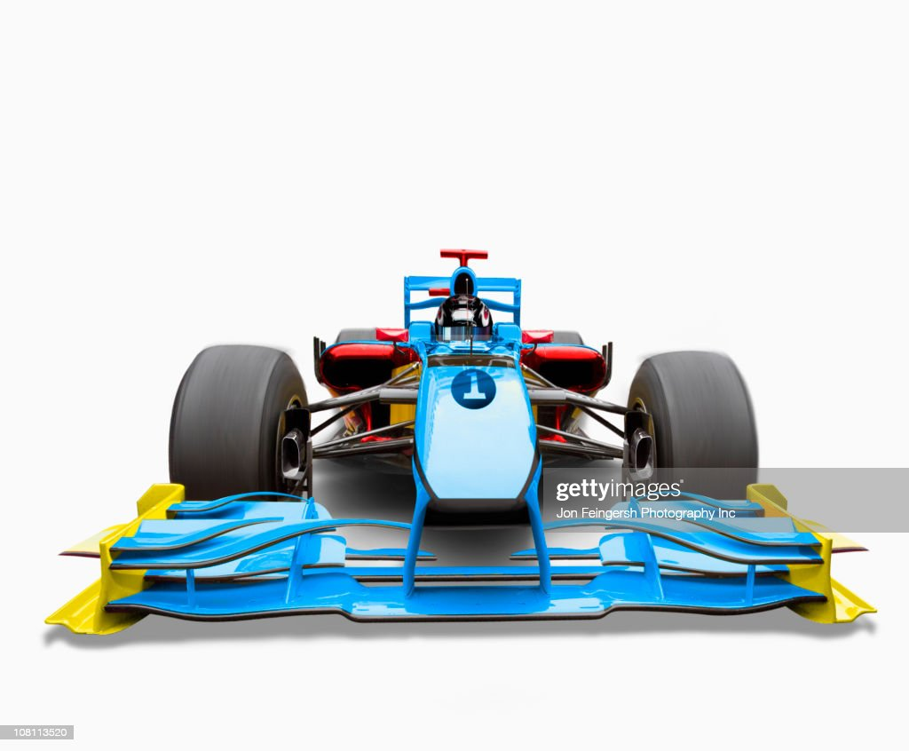 Blue race car with driver : Stock Photo