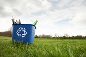 A low-angle, off-centre view of a blue recycling bin with the recycling logo containing some bottles and papers sitting on grass in a field against a cloudy sky.