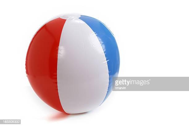 A blue red and white beach ball