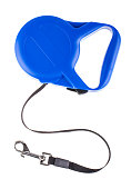 Blue retractable leash for dog top view isolated on white background