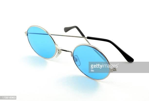 Lunettes de soleil rétro bleu