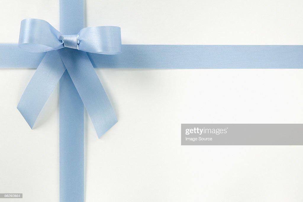 Blue ribbon on gift