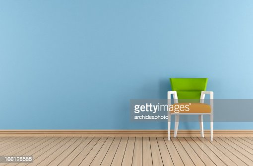Blue room with colorful chair : Stock Photo