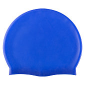 blue rubber swimming cap in the pool or in the ocean, on a white background