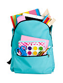Blue school bag with school supplies isolated on white background