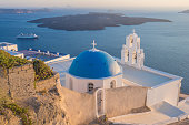 Blue sea and church, greek islands, Santorini