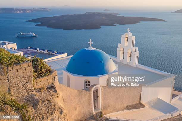 Blue sea and church, greek islands, Santorini