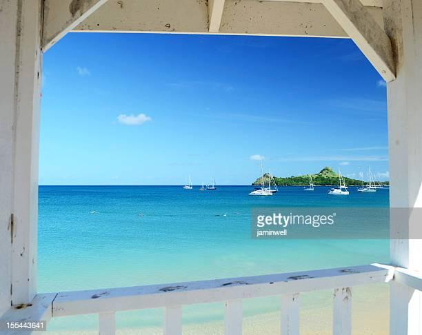 blue sea and sky caribbean exotic scene