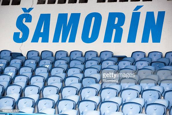 Blue seating sits in stadium terrace of Slovakian football club FC STK Samorin in Samorin Slovakia on Friday Jan 27 2017 For top Brazilian clubs...
