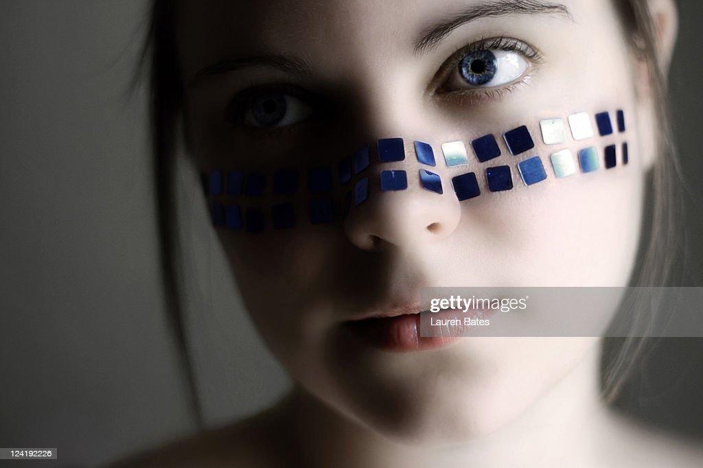 Blue sequins : Stock Photo