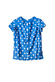 Blue short sleeves shirt with white polka dots isolated over white