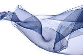 Blue silk on white background