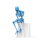 Blue skeleton sitting pose